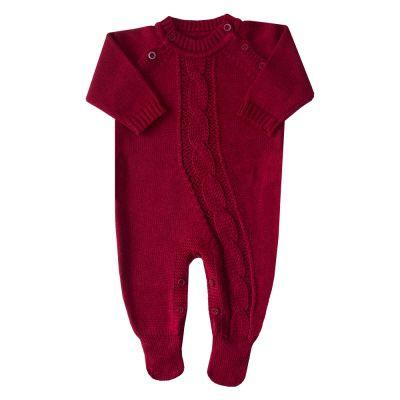 Macacão bebê trança enviesada - Vermelho