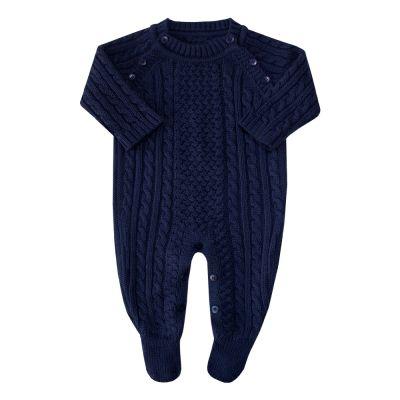 Macacão bebê treliça tranças - Azul marinho