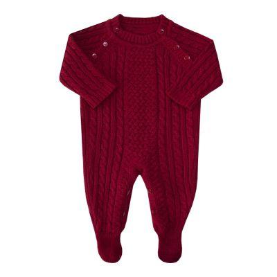 Macacão bebê treliça tranças - Vermelho
