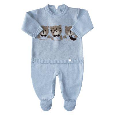 Macacão bebê trio de ursos - Azul pó
