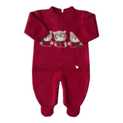 Macacão bebê trio de ursos - Vermelho red night