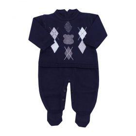 Macacão bebê urso escocês - Azul profundo