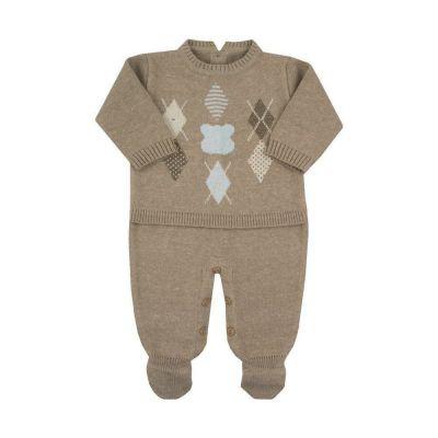Saída de maternidade masculina macacão urso escocês - Rolex