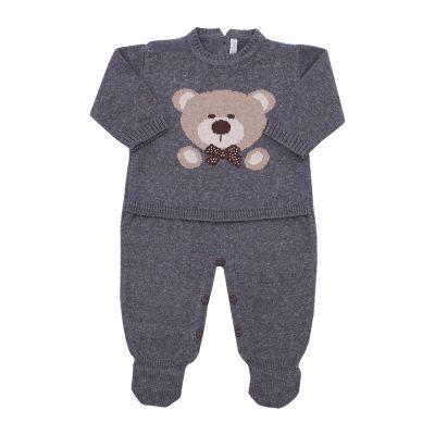 Macacão bebê urso jacquard - Grafite