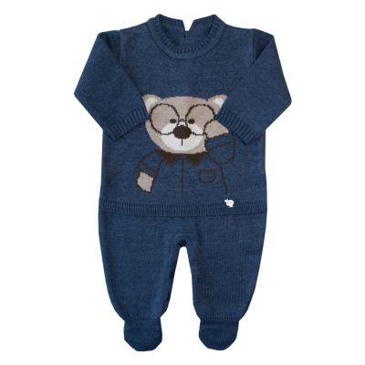 Macacão bebê urso nerd - Indigo