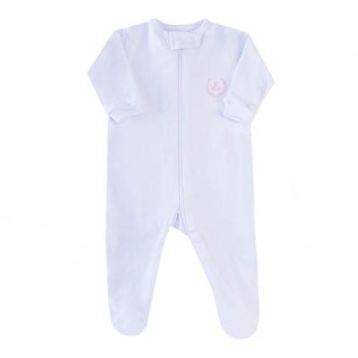 Macacão bebê zíper e pé - Branco com brasão rosa