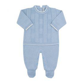 Macacão em tricot - Azul bebê