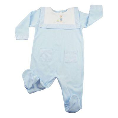 Macacão bebê manga longa com pé - Azul bebê