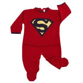 Saída de maternidade masculina macacão super bebê - Vermelho