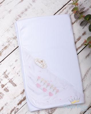 Manta bebê em suedine corações - Branco e rosa