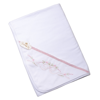 Manta bebê em suedine laço com renda - Branco e rosa