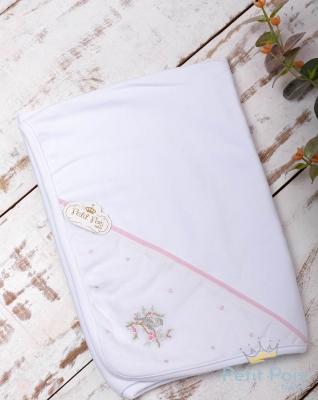 Manta bebê em suedine pássaro - Branco e rosa