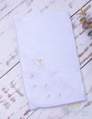 Manta bebê em suedine tulipa - Branco e rosa