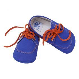 Mocassim bebê em couro - Azul