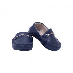 Mocassim bebê em couro - Azul marinho