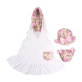 Moda praia bebê floral 3 peças - Branco e rosa bebê