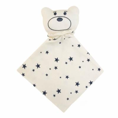 Naninha bebê estrela - Off white e azul marinho