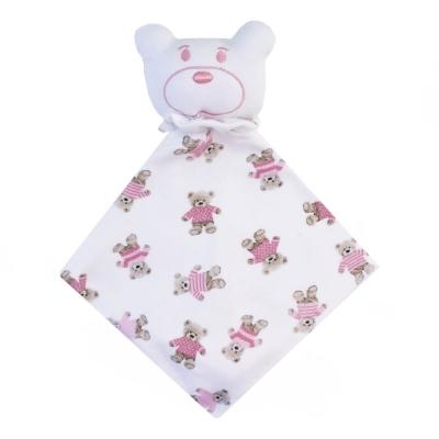 Naninha bebê ursinha - Branco e rosa bebê