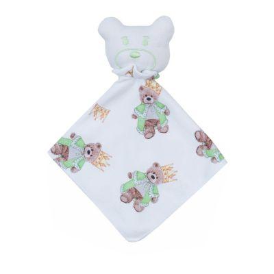Naninha bebê ursinho com coroa - Branco e verde