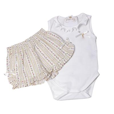 Pijama bebê flores - Marfim
