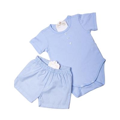 Pijama bebê listrado - Azul bebê