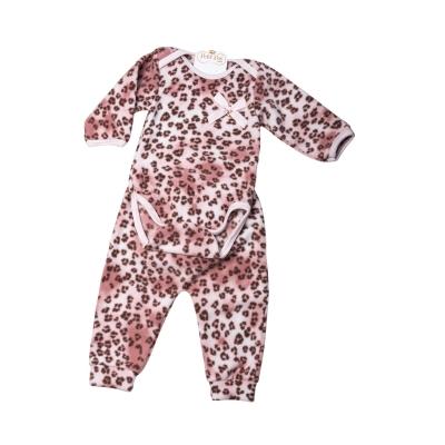 Pijama bebê soft onça - Rosa bebê