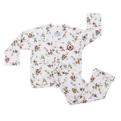 Pijama bebê com casaco e calça - Floral