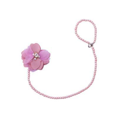 Prendedor de chupeta com flor - Rosa