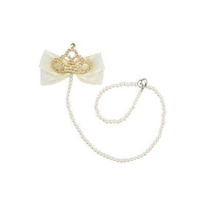 Prendedor de chupeta laço e coroa - Marfim