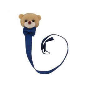 Prendedor de chupeta ursinho com gravata - Azul marinho