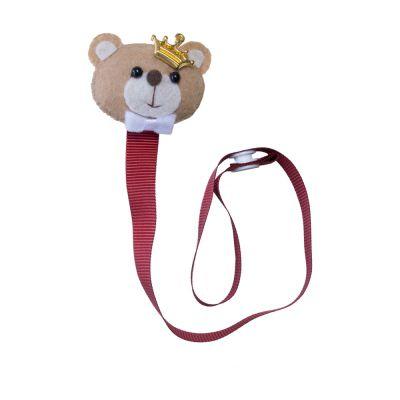 Prendedor de chupeta ursinho coroa - Vermelho