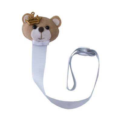 Prendedor de chupeta urso coroa - Cinza