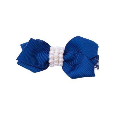 Presilha bebê laço com pérolas - Azul marinho