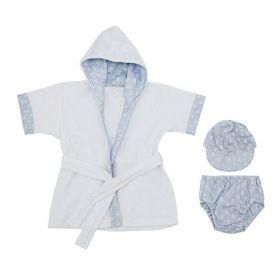 Roupão bebê com banho de sol 3 peças - Branco e azul bebê