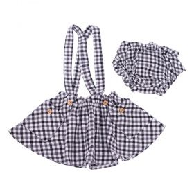 Saia bebê com suspensório - Preto e cinza