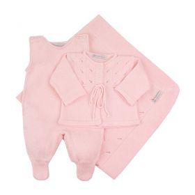 Saída de bebê feminina 3 peças - Rosa bebê