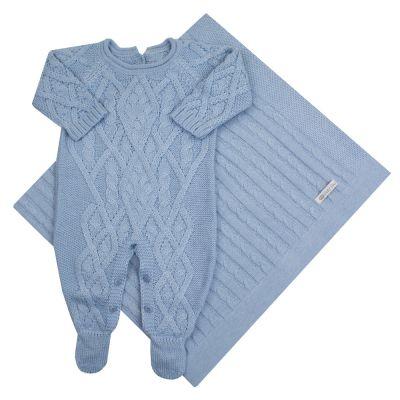 Saída de maternidade aran - Azul bebê