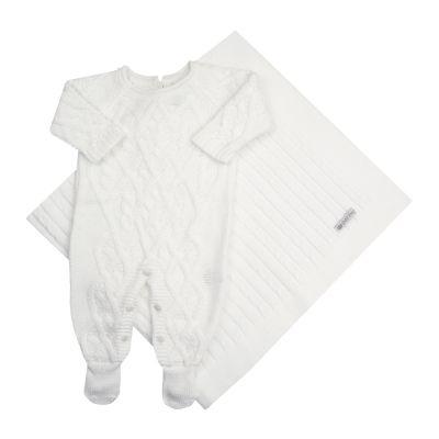 Saída de maternidade aran macacão e manta - Branco
