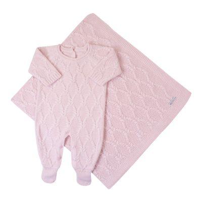 Saída de maternidade aran macacão e manta - Rosa bebê