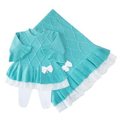 Saída de maternidade barra renda vestido, calça e manta - Tiffany