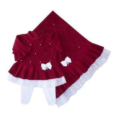 Saída de maternidade barra renda vestido, calça e manta - Vermelho