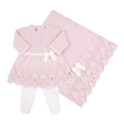 Saída de maternidade casinha de abelha vestido com cristais swarovski e calça - Rosa bebê e branco