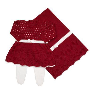 Saída de maternidade casinha de abelha com vestido, calça e manta - Vermelho e branco