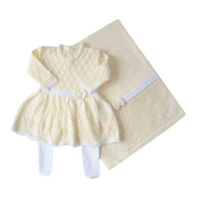 Saída de maternidade casinha de abelha pp vestido, calça e manta - Amarelo bebê