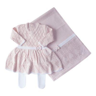 Saída de maternidade casinha de abelha pp vestido, calça e manta - Rosa bebê