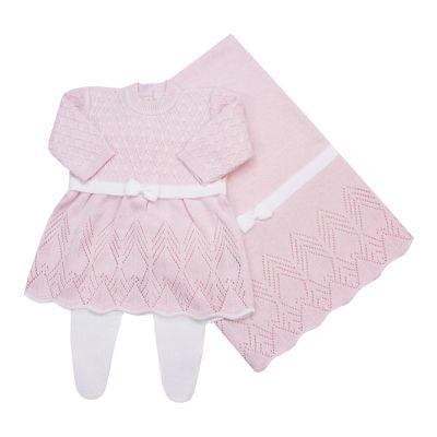 Saída de maternidade casinha de abelha vestido, calça e manta - Rosa bebê e branco