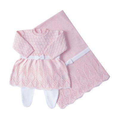 Saída de maternidade casinha de abelha vestido, calça e manta - Rosa sensação