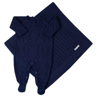 Saída de maternidade cedrilho macacão e manta - Azul marinho