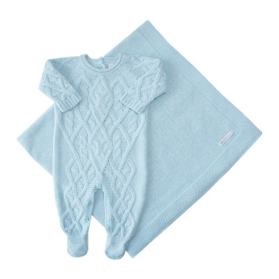 Saída de maternidade cedrilho macacão e manta - Azul pátina