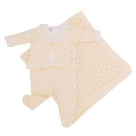 Saída de maternidade feminina casaco, jardineira, body e manta - Amarelo bebê